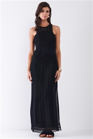 Black Boho Chic Crochet Embroidery Trim Sleeveless Round Neck Slit Detail Straight Maxi Dress /2-1-2