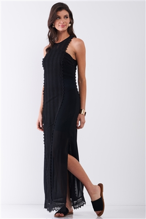 Black Boho Chic Crochet Embroidery Trim Sleeveless Round Neck Slit Detail Straight Maxi Dress /2-2-2