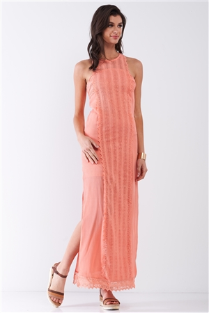 Coral Boho Chic Crochet Embroidery Trim Sleeveless Round Neck Slit Detail Straight Maxi Dress /2-1-1