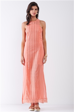 Coral Boho Chic Crochet Embroidery Trim Sleeveless Round Neck Slit Detail Straight Maxi Dress /2-2-2
