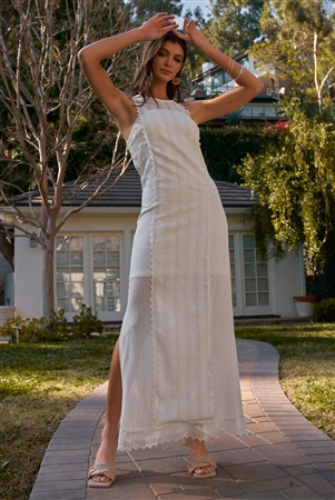 White Boho Chic Crochet Embroidery Trim Sleeveless Round Neck Slit Detail Straight Maxi Dress /2-2-2