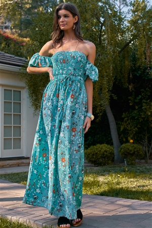 Turquoise Floral Print Off-The-Shoulder Puff Sleeve Smock Detail Self-Tie Waist Maxi Dress