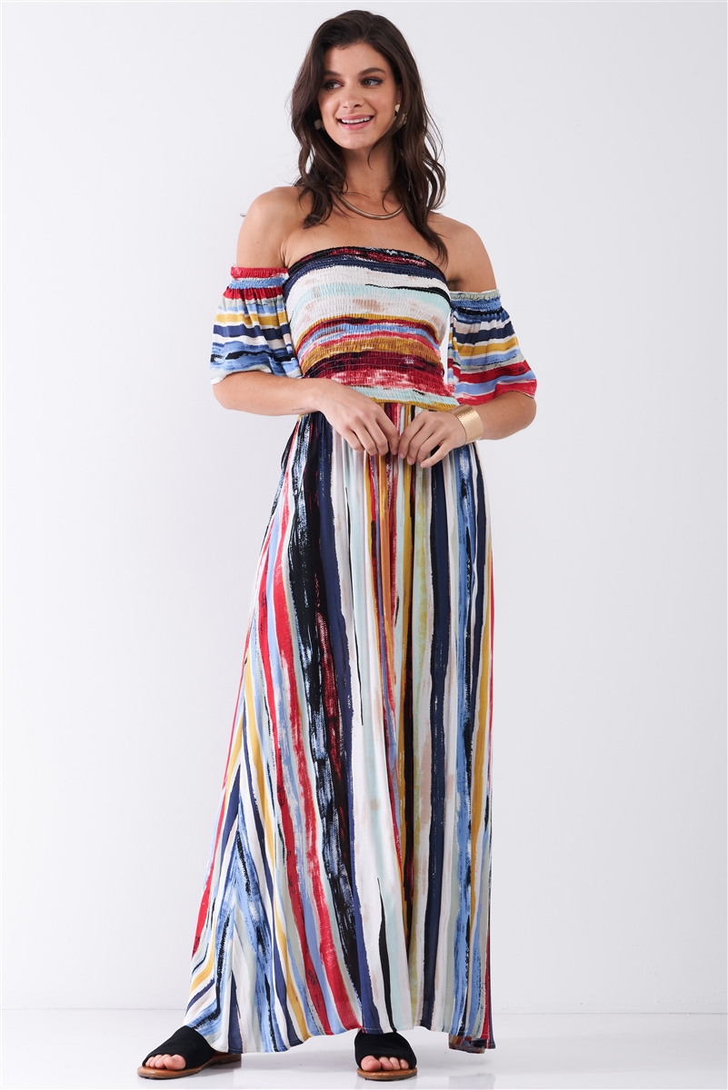 Navy Multicolor Brushed Stripe Print Off-The-Shoulder Puff Sleeve Smock Lace-Up Detail Summer Maxi Dress /2-2-2