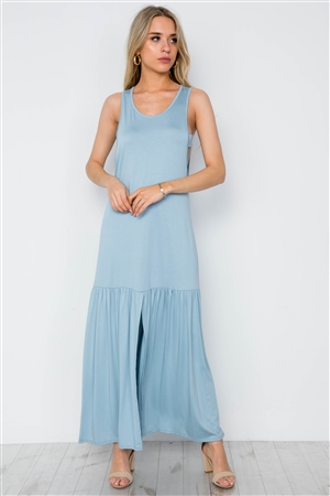 Blue Basic Shirred Hem Front Slit Maxi Dress