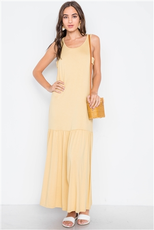Mustard Basic Shirred Hem Front Slit Maxi Dress