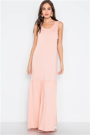 Pink Basic Shirred Hem Front Slit Maxi Dress