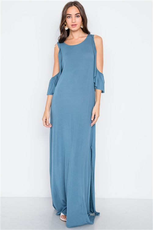 Blue Cold Shoulder Side Slit Maxi Basic Dress