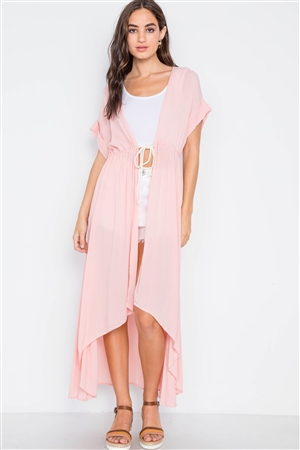 Pink Knit High Low Boho Cardigan Cover Up