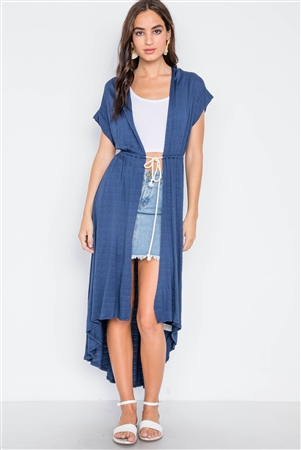 Navy Knit High Low Boho Cardigan Cover Up