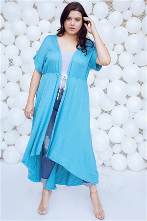 Plus Size Aqua Basic High Low Cardigan Cover Up