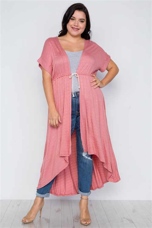 Plus Size Coral Basic High Low Cardigan Cover Up