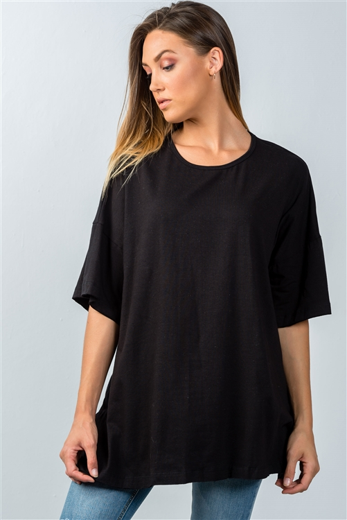 Black Dropped Shoulder Tunic Top