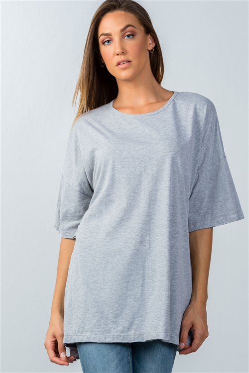 Heather Grey Dropped Shoulder Tunic Top