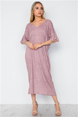 Mauve Twist Back Short Sleeve Maxi Boho Shirt Dress