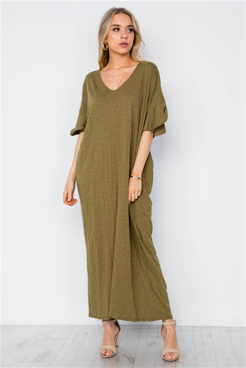 Olive Twist Back Short Sleeve Maxi Boho Shirt Dress