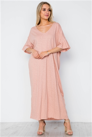 Peach Twist Back Short Sleeve Maxi Boho Shirt Dress