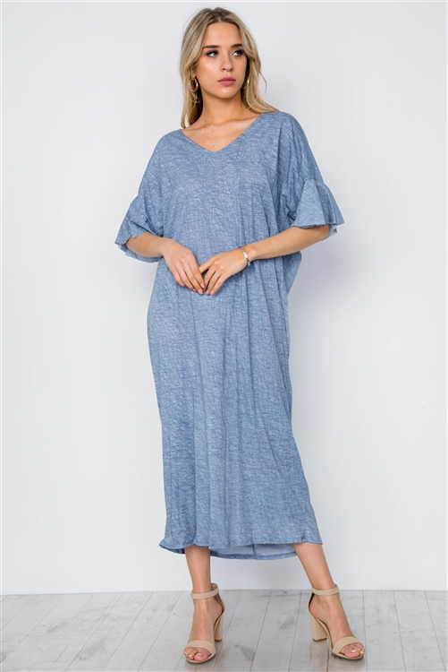Blue Twist Back Short Sleeve Maxi Boho Shirt Dress