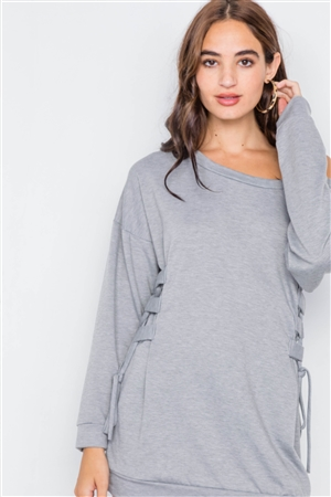 Grey Relaxed Fit Lace-Up Sides Mini Sweater Dress