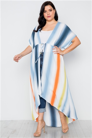 Plus Size Multi Blue Kimono Cover Up