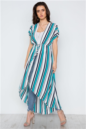 Turquoise White Stripe High Low Kimono Cover Up