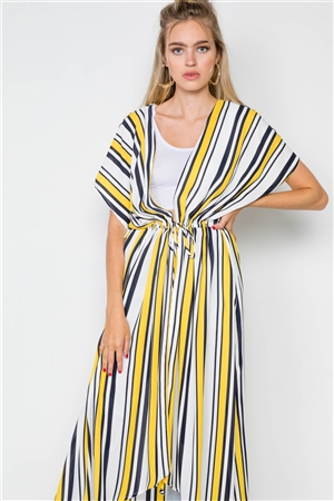 Yellow Multi Stripe Kimono Cover Up