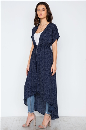 Navy Polka Dot High Low Kimono Cover Up