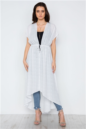 White Polka Dot High Low Kimono Cover Up