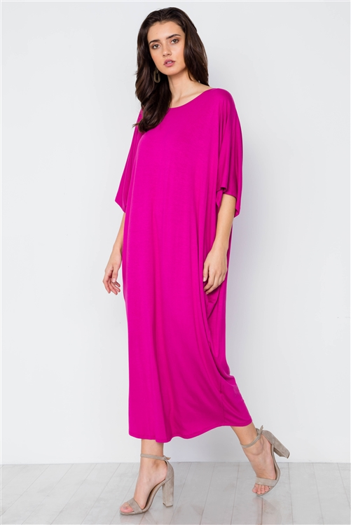 Magenta Basic Loose Fit Maxi Shirt Dress