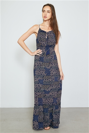 Navy Floral Mix Print Tassel Tie Maxi Dress