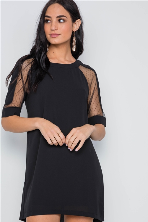 Black Sheer Dotted Sleeves Mini Shirt Dress