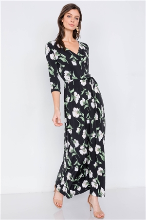 Black Floral Print Waist Tie 3/4 Sleeve Maxi Dress