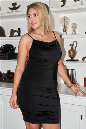 """Be My Valentine"" Junior Plus Black Sleeveless Square Neck Open Back Criss-Cross Straps Gathered Fitted Mini Dress /2-2-2"