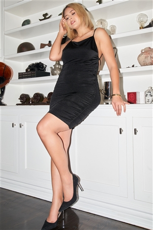 """Be My Valentine"" Junior Plus Black Sleeveless Square Neck Open Back Criss-Cross Straps Gathered Fitted Mini Dress /3-2-1"