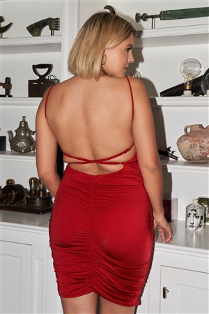 """Be My Valentine"" Junior Plus Red Sleeveless Square Neck Open Back Criss-Cross Straps Gathered Fitted Mini Dress /3-2-1"