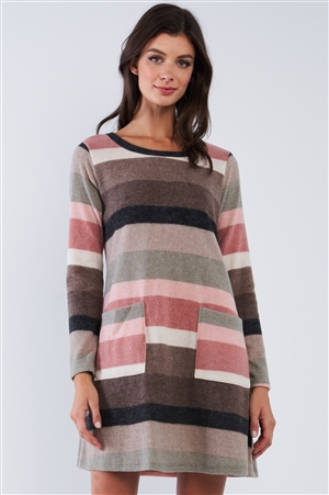 Brown Multicolor Soft Striped Loose Fit Long Sleeve Sweater Type Mini Dress With Front Pockets /2-2-2