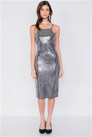 Silver & Black Sequin Square Neck Lace-Up Back Party Dress