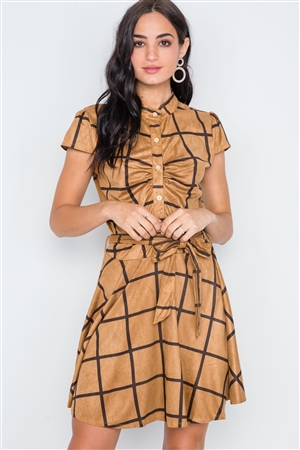 Coffee Check A-Line Faux Suede Mini Dress