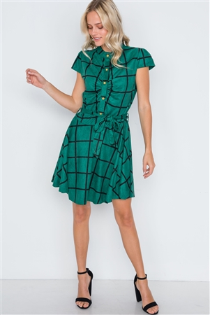 Dark Green Check A-Line Faux Suede Mini Dress