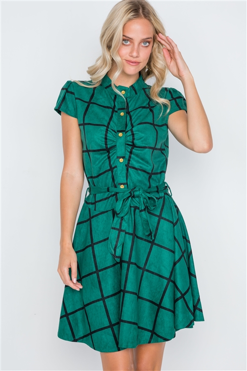 Dark Green Check A-Line Suede Mini Dress