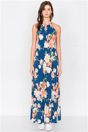 Teal Floral Tropical High Neck Midi Side Slit Casual Dress