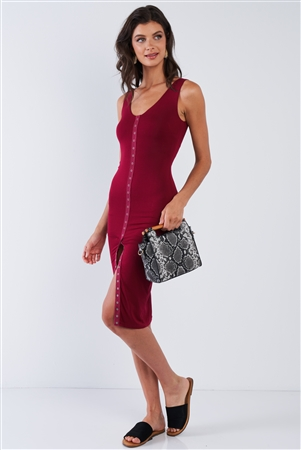 Burgundy Snap Up Body-con Dress