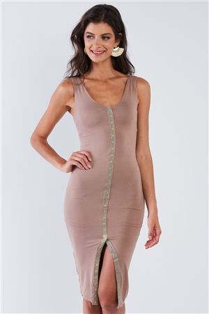 Khaki Snap Up Body-con Dress