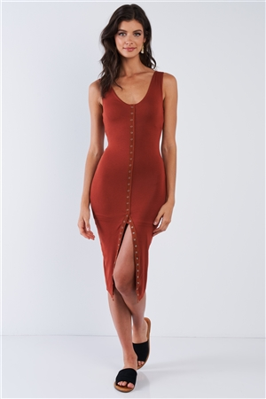 Rust Snap Up Body-con Dress