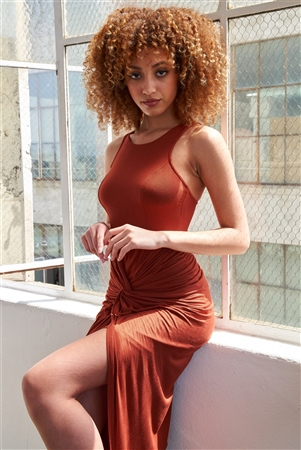 Rust Sleeveless Knotted Skirt Snatched Midi Body-Con Tank Dress /2-2-2