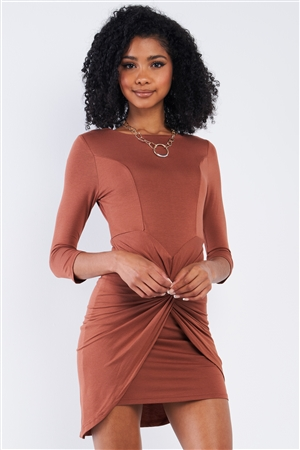 Caramel Coffee Brown Asymmetrical Tight Fit Midi Sleeve Round Neck Front Twist Wrap Detail Mini Dress