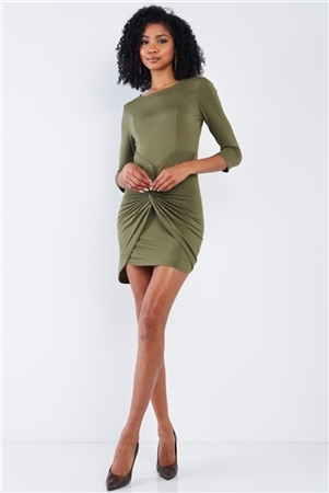 Olive Asymmetrical Tight Fit Midi Sleeve Round Neck Front Twist Wrap Detail Mini Dress
