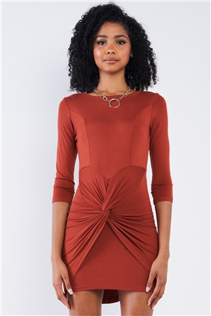 Rust Asymmetrical Tight Fit Midi Sleeve Round Neck Front Twist Wrap Detail Mini Dress