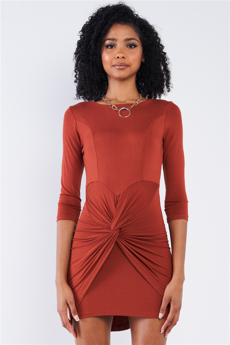 Rust Red Asymmetrical Tight Fit Midi Sleeve Round Neck Front Twist Wrap Detail Mini Dress /2-2-2