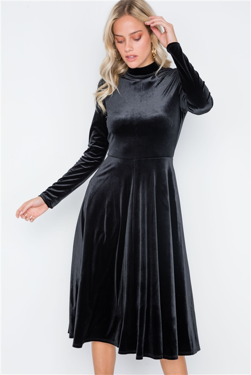 Black Velvet Long Sleeve A-Line Midi Evening Dress