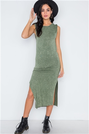 Boho Olive Green Mineral Acid Wash Sleeveless Knotted Side Slit Midi Dress